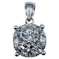 Cocktail Diamond Pendant .75ctw 14kw