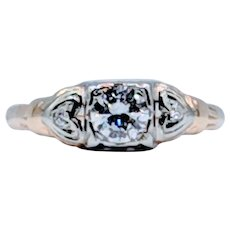 Mid Century Diamond Engagement Ring Two-Tone
