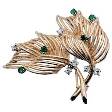 Vintage St. Geo Emerald and Diamond Brooch 18k