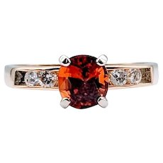 Bright Vivid Spessartite Garnet and Diamond Ring Size 9