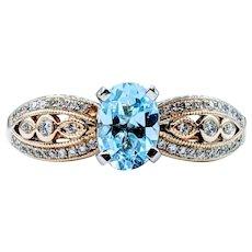 Elegant Aquamarine & Diamond Cocktail Ring