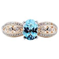 Stunningly Detailed Aquamarine & Diamond Ring