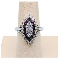 Vintage Spinel & Diamond Ring