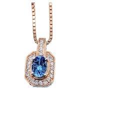 Tanzanite and Diamond Pendant w/Box Chain