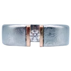 Damascus Steel 1/5 Carat Diamond Ring