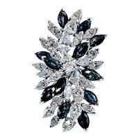 Spectacular Sapphire and Diamond Waterfall Cocktail Ring 11ctw