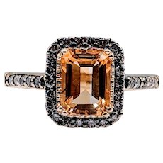 Vintage LeVian Citrine & Chocolate Diamond Ring