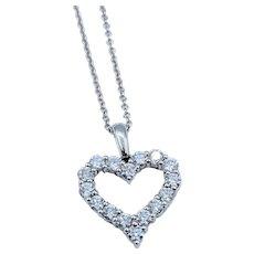 "Classic Diamond Heart Pendant .75ctw w/18"" chain"