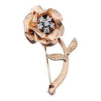 Vintage Diamond Flower Brooch 14ky