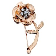 Vintage Diamond Flower Brooch 14ky