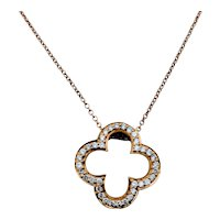 18kt Clover Diamond Pendant W/Chain