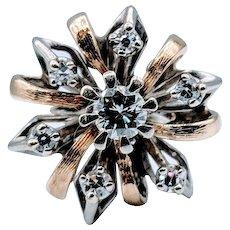 Fantastic Vintage Two Tone Ribbon Style Diamond Ring