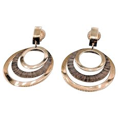 Chocolate Gold Triple Circle Earrings 18ky by Lecil Henderson