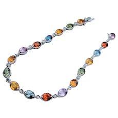 Beautiful 18kt Multicolor Sapphire & Diamond Bracelet