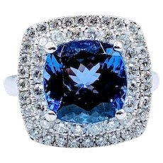 Stunning Platinum 5ct Cushion Cut Tanzanite and Diamond Ring