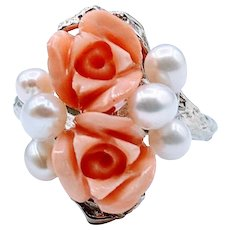 Beautiful Vintage Pink Coral and Pearl Ring 14kw