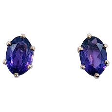 Dazzling Oval Amethyst Solitaire Stud Earrings