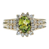 Gorgeous Peridot & Diamond Halo Ring