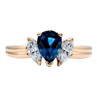 **Weekend Sale Item** Vivid Natural Blue Sapphire and Diamond Ring 18k