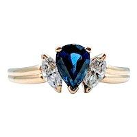 Vintage 18k Sapphire & Diamond Ring