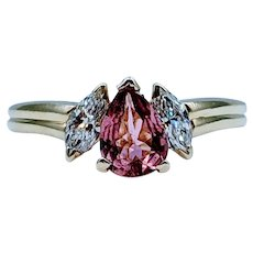 Stunning 18k Pink Tourmaline & Diamond Ring