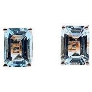 Beautiful Emerald Cut Aquamarine Stud Earrings 2ctw