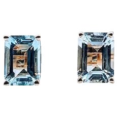 Beautiful Emerald Cut Aquamarine Stud Earrings 2ctw