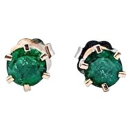 Vintage 6-Prong 1/2 ctw Columbian Emerald Earrings 14k