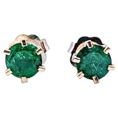 Vintage 6-Prong 1/2 ctw Columbian Emerald Earrings 14k