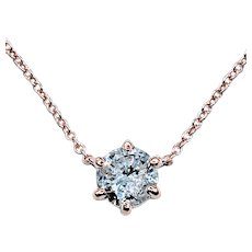 Classic Diamond Solitaire Necklace in Rose Gold