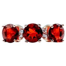 Mandarin Garnet & Diamond Ring