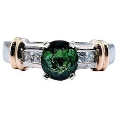 One of a Kind Green Tourmaline and Diamond Ring Two-Tone