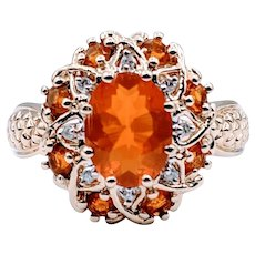 Stunning Fire Opal & Diamond Ring