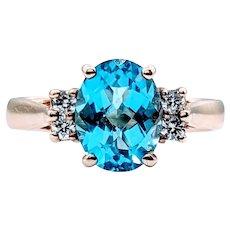 Swiss Blue and Diamond Fashion Ring