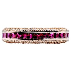 Vintage Ruby Channel & Diamond Ring