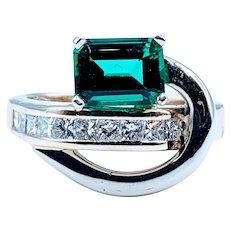 Brilliant 1.50ct Chatham Emerald and Diamond Gold Ring