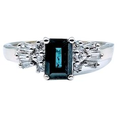 Rich Blue Sapphire & Diamond Ring