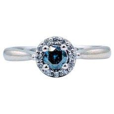 Blue Diamond Halo Ring