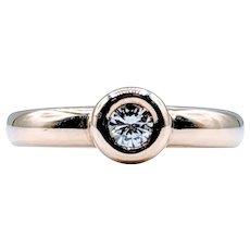 Vintage Bezel Set 1/4 carat Round Natural Diamond
