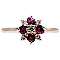 Fun Vintage Floral Ruby and Diamond Ring 14k Yellow