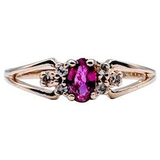 Yellow Gold Vintage Ruby and Diamond Ring