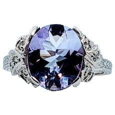 Stunning 3.82ct Oval Amethyst & Diamond Ring