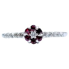Great Stacking Ruby and Diamond Ring 14k Size 7