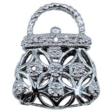 Cute Diamond Handbag Pendant/Charm WG