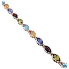 "Bezel Set Oval Multi Gemstone Bracelet 7"" 14k"