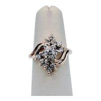 Vintage Waterfall Diamond Cocktail Ring 14K .50CTW
