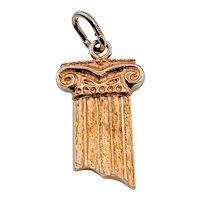 Gold Pendant Column Charm