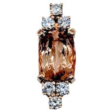 1.25ct Peach Topaz and Diamond Pendant 14k