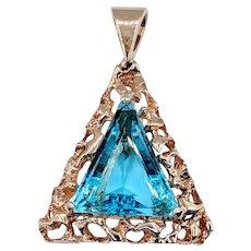 16 carat Triangle Swiss Blue Topaz Custom Pendant