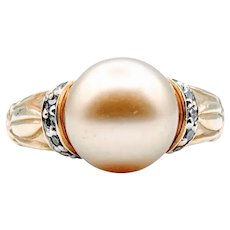 Vintage Golden Pearl and Diamond Ring 18k Size 6